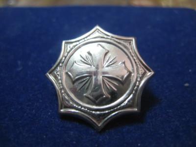 2367-I-Insigna Cruce metalica veche in crom, stare buna diametrul-2cm. foto