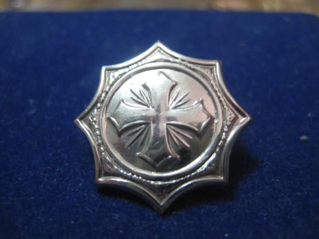 2367-I-Insigna Cruce metalica veche in crom, stare buna diametrul-2cm.