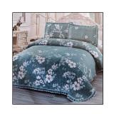 Cuvertură dublă, 3 piese, Bumbac 100%, model Floral Blue