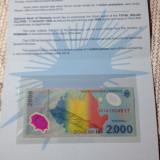 RARITATE ! 2000 LEI 1999 ECLIPSA SERIA 001A1004617 PESTE MILION ! IN FOLDER UNC