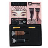 Cumpara ieftin Kit sprancene 2 gel sprancene Kiss Beauty Eyebrow Gel+pensula aplicare