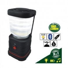 Lampa 3 in 1 cu led si boxa cu bluetooth, JBM 53199, Bt, USB, rezistenta la apa, 15 leduri, incarcare telefon