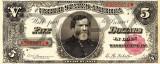 5 dolari 1890 Reproducere Bancnota USD , Dimensiune reala 1:1