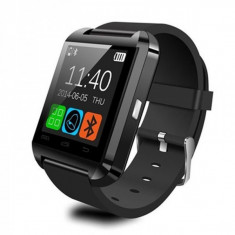 Ceas smartwatch OEM-U8, Functie telefon, SMS, Bluetooth, Pedometru, Barometru, Calendar, Model Negru