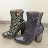 NOU Botine dama argintii cu sclipici si toc metalic cizme marimea 35, Din imagine