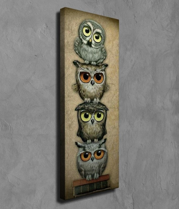 Superb tablou mare efect 3D - 4 BUFNITE INTELEPTE auriu/bronz - panza/lemn