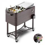 Cumpara ieftin Blumfeldt SpringBreak, cărucior pentru băuturi, cutie de răcire, cărucior de răcie pentru terase, 80 L, design rattan