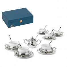 Silver Tea Set for Six by Chinelli made in Italy