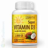 Cumpara ieftin Vitamina D3 ulei cocos 120cps. (imunitate, oase, muschi) Zenyth