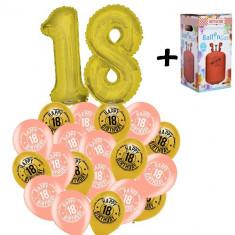 "Pachet majorat baloane""18"", 2 folii aurii + 30 latex  + 1 butelie heliu-2018114"