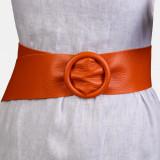 Curea portocalie din piele naturala cu latime de 7 cm, catarama rotunda imbracata in piele