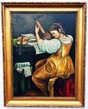 Cumpara ieftin Tablou vechi scoala straina, Portrete, Ulei, Impresionism