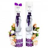 Lumanari imprimate si decorate cu flori de matase, FEIS018