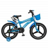 Bicicleta Copii Carpat C1800A, Roti 16inch, Frane C-Brake, Roti Ajutatoare cu LED (Albastru)