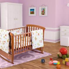 Set pentru patut bebe, cu aparatori, model Jungle Relax KipRoom