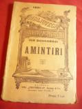 Ioan Dongorozi - Amintiri -BPT nr.1231 interbelica Ed.Universala Alcalay ,88 pag