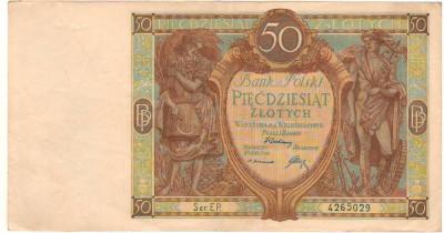 SV * Polonia  50  ZLOTYCH  /  ZLOTI  1929     interbelica     XF+ foto