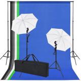 Kit studio foto: 5 fundaluri colorate & 2 umbrele