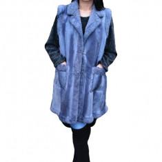 Cardigan lung tip vesta accesorizata cu brosa, culoare bleumarin