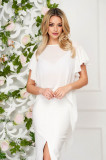 Cumpara ieftin Bluza dama StarShinerS alba eleganta din voal cu croi larg cu maneca scurta si volanase