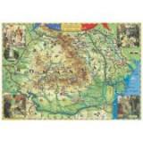 Romania - tara mea de dor (harta interactiva cu recunoastere vizuala), 1000x700mm (GHDOR100-L)