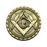 Cumpara ieftin Pin masonic rotund auriu echer si compas cu litera G - PIN093