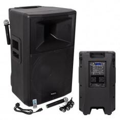 Boxa profesionala activa, 18 inch, 500 W RMS, 2 microfoane VHF