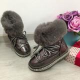 Cumpara ieftin Ghete imblanite gri tip clapari de iarna cizme pt fete copii 25 26