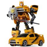 Robot de jucarie, model transformer in masinuta sport, galben, 22x7x24 cm