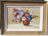 Nicolae Ambrozie Tablou Natura statica Vas cu flori ulei pe panza 52x69cm