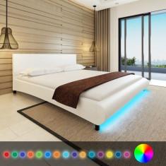 Cadru de pat cu piele artificială și bandă LED, 180 x 200 cm, alb