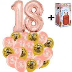"Pachet majorat baloane ""18"", 2 folii rose gold+30 latex+1 butelie heliu-2018118"