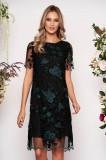 Rochie verde-inchis scurta de ocazie cu un croi drept din dantela