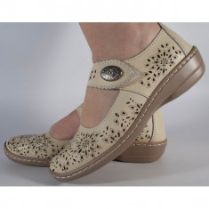 Pantofi platforma perforati bej piele naturala (cod B739874)