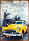 Tablou cu ceas - Chevy galben in Cuba