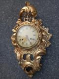 Superb ceas de perete in stilul Rococo din lemn masiv sculptat integral manual