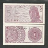 INDONESIA INDONEZIA 5 SEN 1964 UNC [2] P- 91r , Serie X - RARA , necirculata