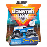 Masinuta Monster Jam, Scara 1:64, Grave Digger cu figurina, Albastru