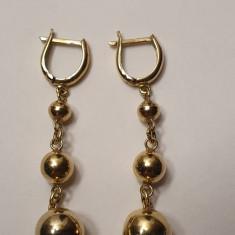 Cercei-pandantiv din aur galben 14K, model cu bile