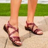 Sandale dama cu talpa ortopedica visinii Holistia