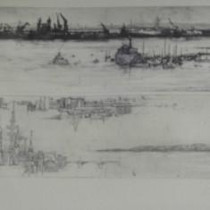 Gravura pe carton - semnat in creion Schmeisser Jörg- Hamburg peisaj