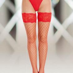 Ciorapi Tip Plasa Cu Dantela 5520, Rosu - 2