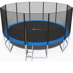 Trambulina FunFit Mare pentru Copii si Adulti, Diametru 435cm 14FT, Scarita Inclusa, Capacitate 180kg, Plasa Laterala cu Fermoar