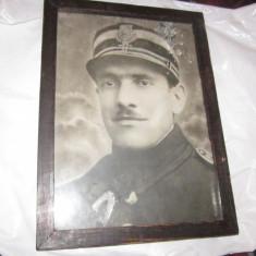 Fotografie militar veche mare 28x20 cm in rama originala timbru atelier n118