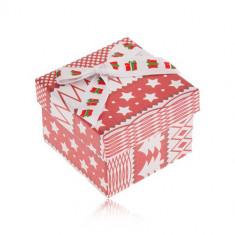 Cutiuță de cadou roșu cu alb, motiv de Crăciun, fundă