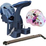Scaun de bicicleta SafeFront Deluxe Minnie WeeRide, casca protectie inclusa, maxim 15 kg, 1-4 ani, model denim