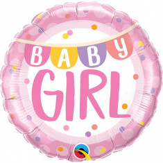 Balon botez Baby Girl cu banner si buline din folie metalizata 43cm foto