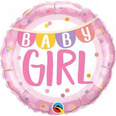 Balon botez Baby Girl cu banner si buline din folie metalizata 43cm