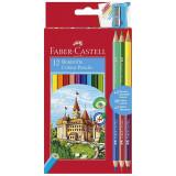 Creioane colorate 12 culori Faber Castell + ascutitoare si 3 creioane bicolore 110312