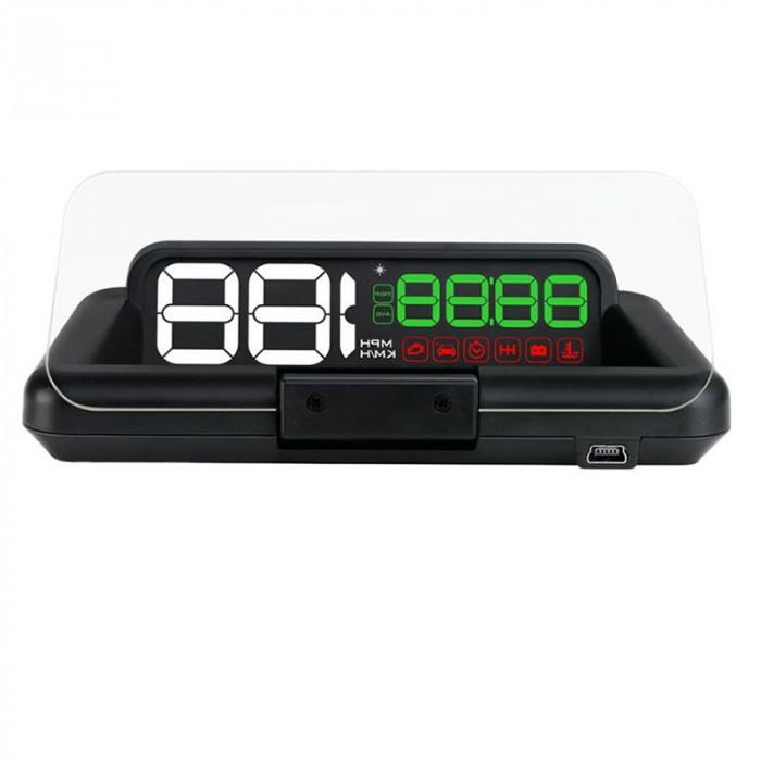 Proiector informatii de bord pe parbriz, Head-Up Display auto Well, display 5 inch, interfata OBD-II